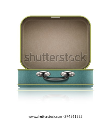 Open old retro vintage suitcase for travel. Empty old case for luggage and garments. Eps10 vector illustration. Isolated on white background icon
