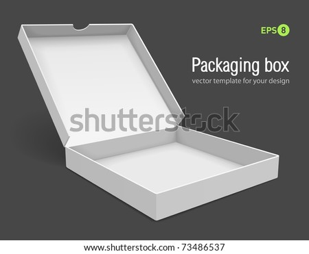 open packing box for pizza vector illustration isolated on grey background - stock vector