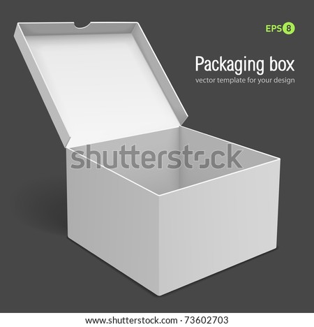 open packing box vector illustration isolated on grey background - stock vector