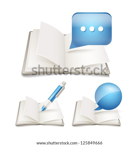 Open paper book with pen and speech clouds collection - stock vector