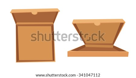 Open pizza box vector illustration. Pizza box delivery service. Craft pizza box isolated on background. Box for pizza, open pizza box. Pizza delivery business, food box, pizza box. Delivery package - stock vector