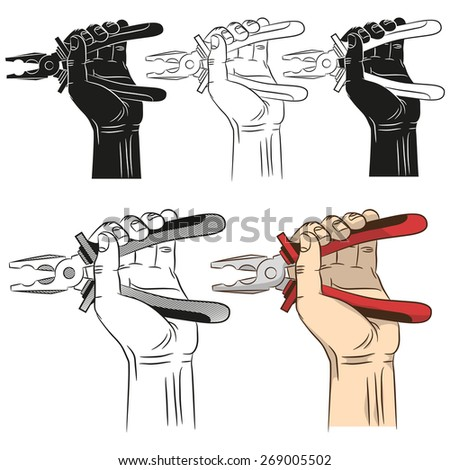Open pliers in hand. Realistic illustration of open pliers in a man's hand in a variety of designs: contour, color, silhouette. - stock vector