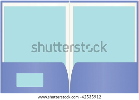 Open presentation folder with easily customizable blank paper and business card copy space. - stock vector