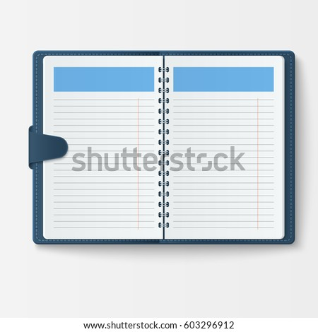 Open Realistic Notebook Pages Diary Office Stock Vector (Royalty ...