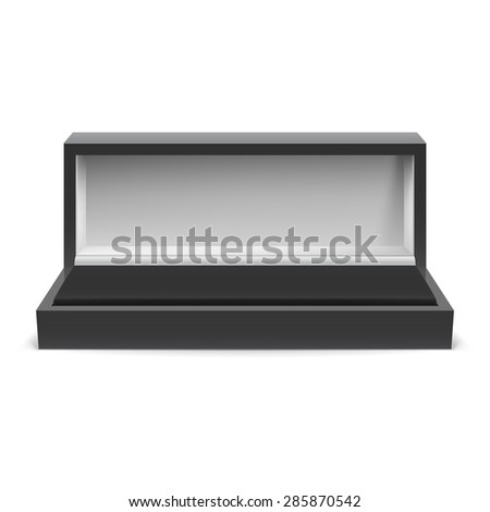 Open rectangular box for jewelry on a white background - stock vector