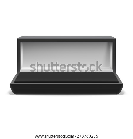 Open rectangular box for jewelry on  white background - stock vector