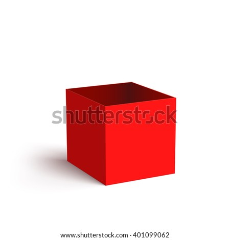 Open Red Box Isolated on White Background Vector illustration
