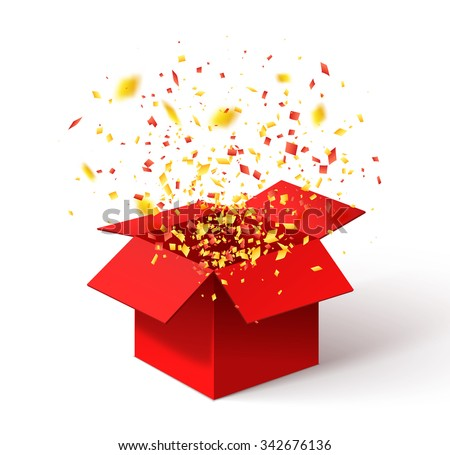 Open Red Gift Box and Confetti. Christmas Background. Vector Illustration. - stock vector