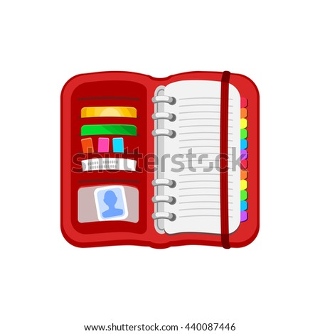 Open red spiral diary, notebook or personal organizer. Notepad with photos, cards, stickers, checks, bookmark. Vector icon isolated on a white background. Flat design. - stock vector