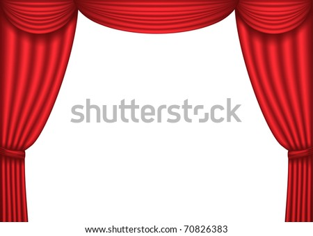 Open red theater curtain, background, vector illustration - stock vector