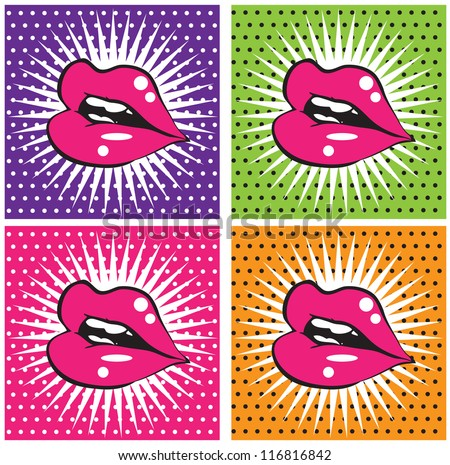Open Sexy wet  red lips with teeth pop art set backgrounds