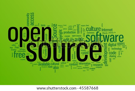 Open source word cloud illustration. Graphic tag collection