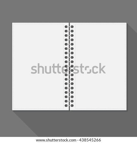 Open spiral notebook. Blank pages and shadow. - stock vector