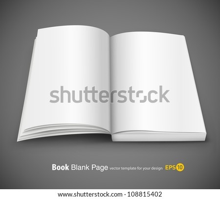 open spread of book with blank white pages vector illustration gradient mesh used EPS10. Transparent objects used for shadows and lights drawing.