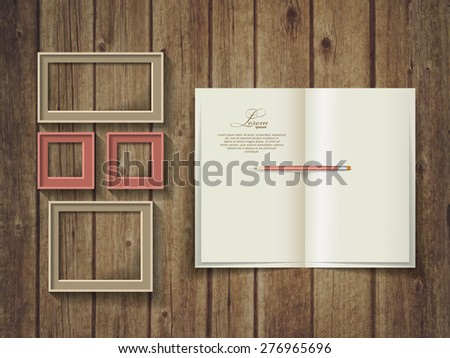 Open square format brochure on a wooden texture. Frame template. - stock vector