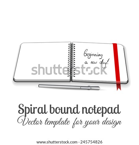 Open square spiral bound notepad on the white table with pen and red ribbon. Can be used for business design. Layered illustration. You can paste you picture in to the page.  - stock vector