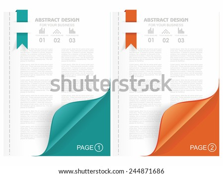 Open the blank magazine with color corner. - stock vector