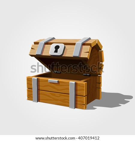 Open the chest. Vector illustration