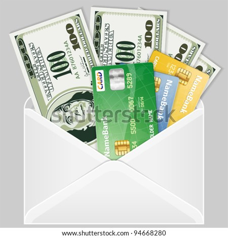 Open the Envelope with Four Hundred Dollar Bills and Credit Cards, vector - stock vector