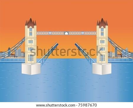 open tower bridge at sundown ( background on separate layer ) - stock vector
