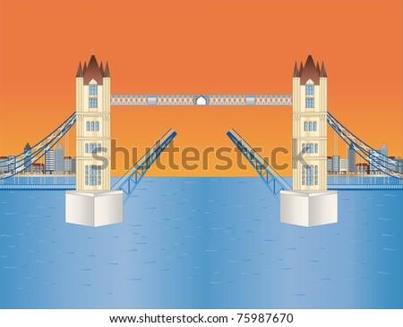open tower bridge at sundown ( background on separate layer ) - stock vector