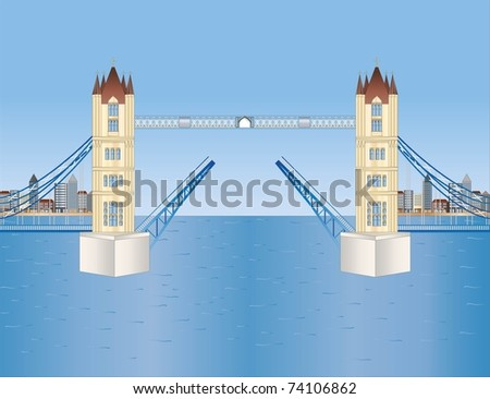 open tower bridge in London ( background on separate layer ) - stock vector