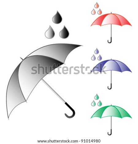 Open umbrellas isolated on white - stock vector