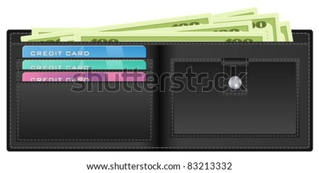 Open wallet with banknotes and credit cards. Vector illustration. - stock vector