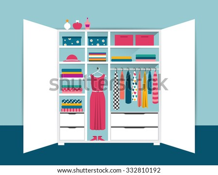 Open wardrobe. White closet with tidy clothes, shirts, sweaters, boxes and shoes. Home interior. Flat design vector illustration. - stock vector