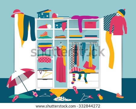Open wardrobe. White closet with untidy clothes, shirts, sweaters, boxes and shoes. Home mess interior. Flat design vector illustration. - stock vector