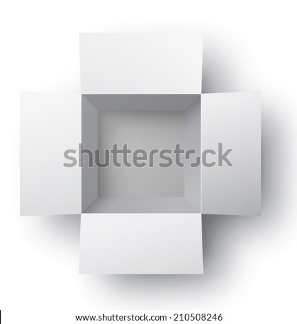 Open white box. Top view. Vector illustration - stock vector