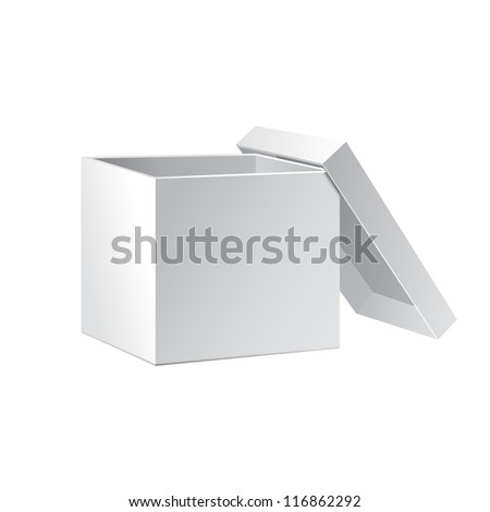 Open White Cardboard Carton Gift Box With Lid. Illustration Isolated On White Background. Vector EPS10 - stock vector