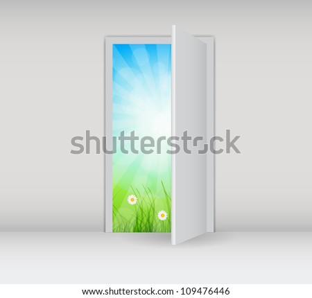 Open white door on a white wall with nature vector illustration - stock vector