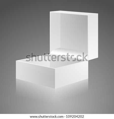 Open white gift box with cover. The carton box - stock vector