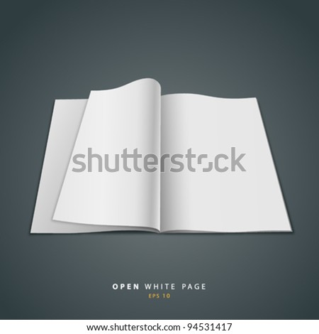 Open white page design, vector illustration - stock vector