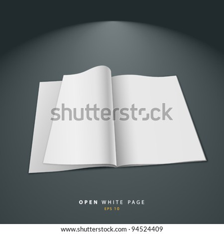 Open white page vector illustration - stock vector