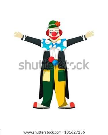 Open wide! Smiling clown asking for a hug. - stock vector