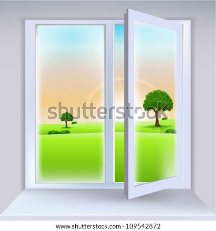 Open Window Lanscape - stock vector