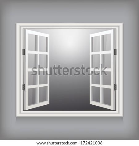 open window. vector template for design - stock vector