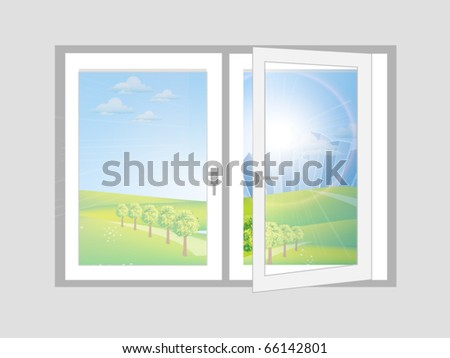 Open window vector with landscape illustration