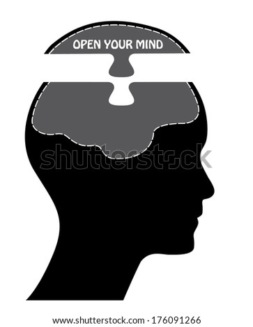 Open your mind concept vector design with brain. - stock vector