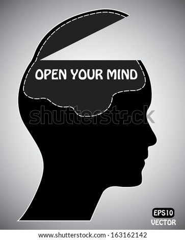 Open your mind concept with brain, head and text. Easy to edit eps10 vector illustration. Creative black and white vector design. - stock vector