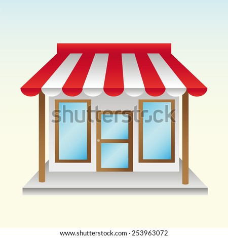 opened a new store useful things with half striped awning - stock vector