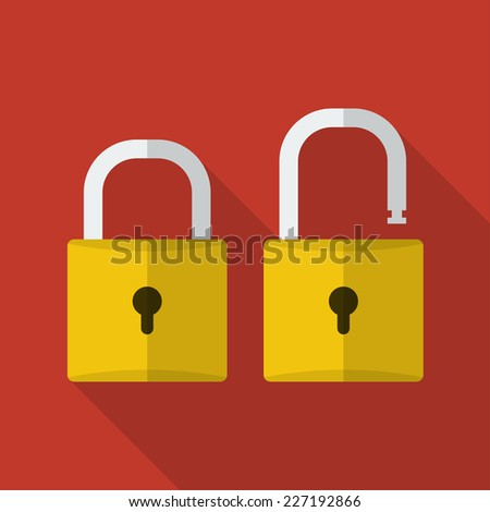 Opened and closed locks. Flat locks with long shadow - stock vector