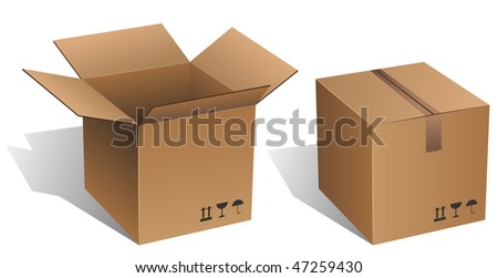 Opened and closed vector cardboard box isolated on white. - stock vector
