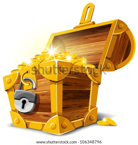 Opened antique treasure chest. Vector illustration. - stock vector