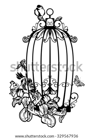 opened bird cage among iris flowers and butterflies - black and white vector design - stock vector