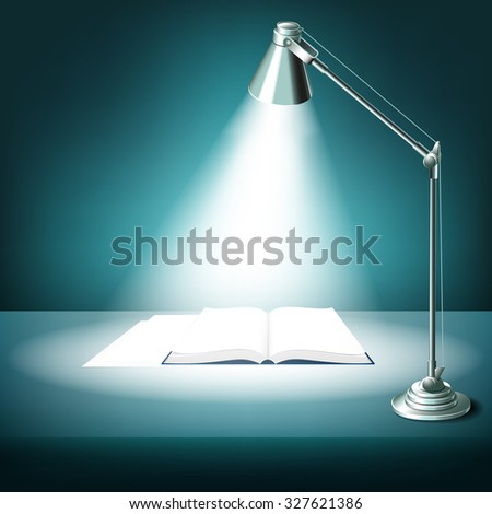 Opened book on table with desk lamp. Textbook literature, study and light, illuminated work place, vector illustration - stock vector