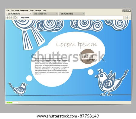 Opened browser window template. Blue site template with birds - stock vector