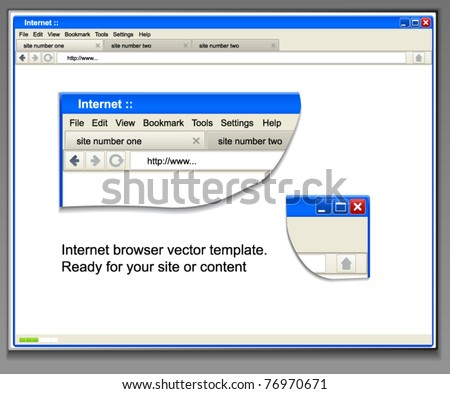 Opened browser window template. Past your content into it - stock vector
